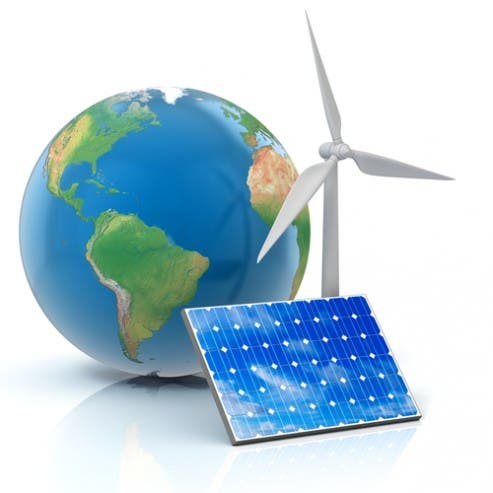 Solar panel, wind turbine & globe via Shutterstock