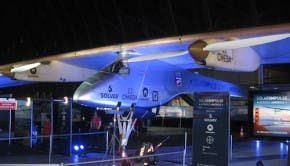 Solar Impulse sits ready to begin its coast-to-coast journey