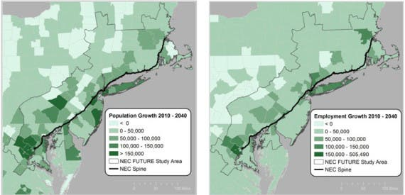 Population (left) and Employment (right) Growth 2010 - 2040 by County Image Credit: Moody's Analytics