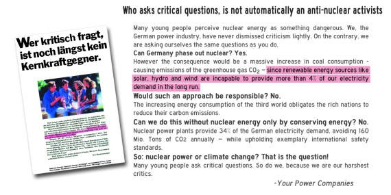 Nationwide print campaign by the German power industry - 1993 - Sounds familiar?