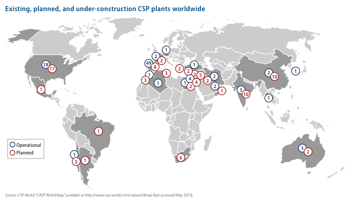 Concentrating solar plants worldwide