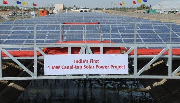 Gujarat canal-top solar power plant
