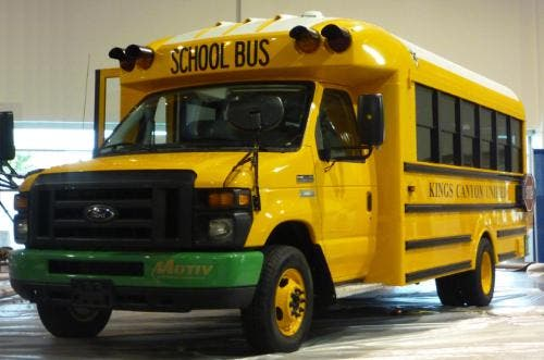 The first all-electric school bus in the US.  Image Credit: PRNewsFoto/Motiv Power Systems