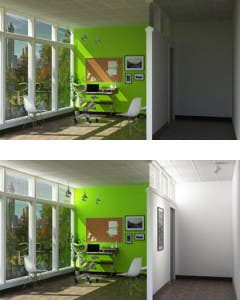 """This rendering depicts how an office might appear with SmartLight off (above) and on (below). Sunlight is directed to different spaces, including to a """"SmartTrackLight"""" in the outer hallway."""