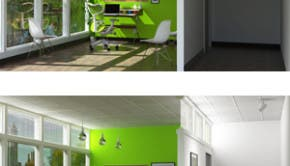 "This rendering depicts how an office might appear with SmartLight off (above) and on (below). Sunlight is directed to different spaces, including to a ""SmartTrackLight"" in the outer hallway."