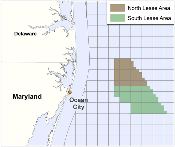 Maryland offshore wind north and south lease areas