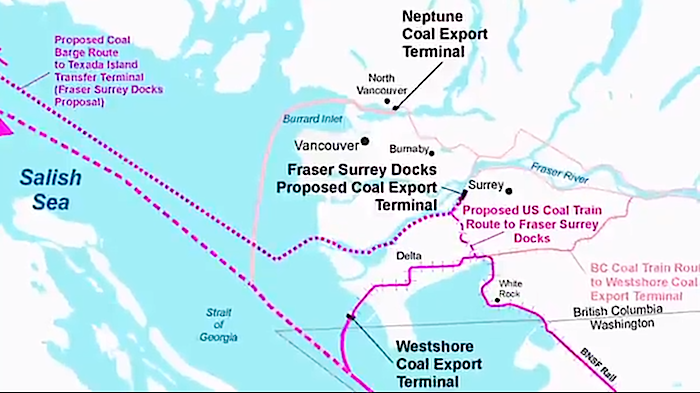 Existing and Proposed Coal Terminals in BC's  Lower Mainland - from Save the Salish Sea