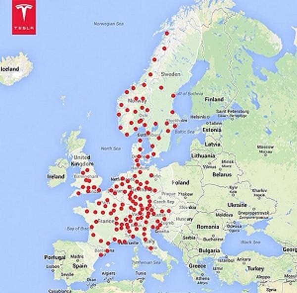 Tesla Super Charger Map on Twitter