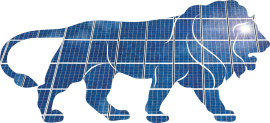 Make in India logo with a backdrop of solar panels (Source)