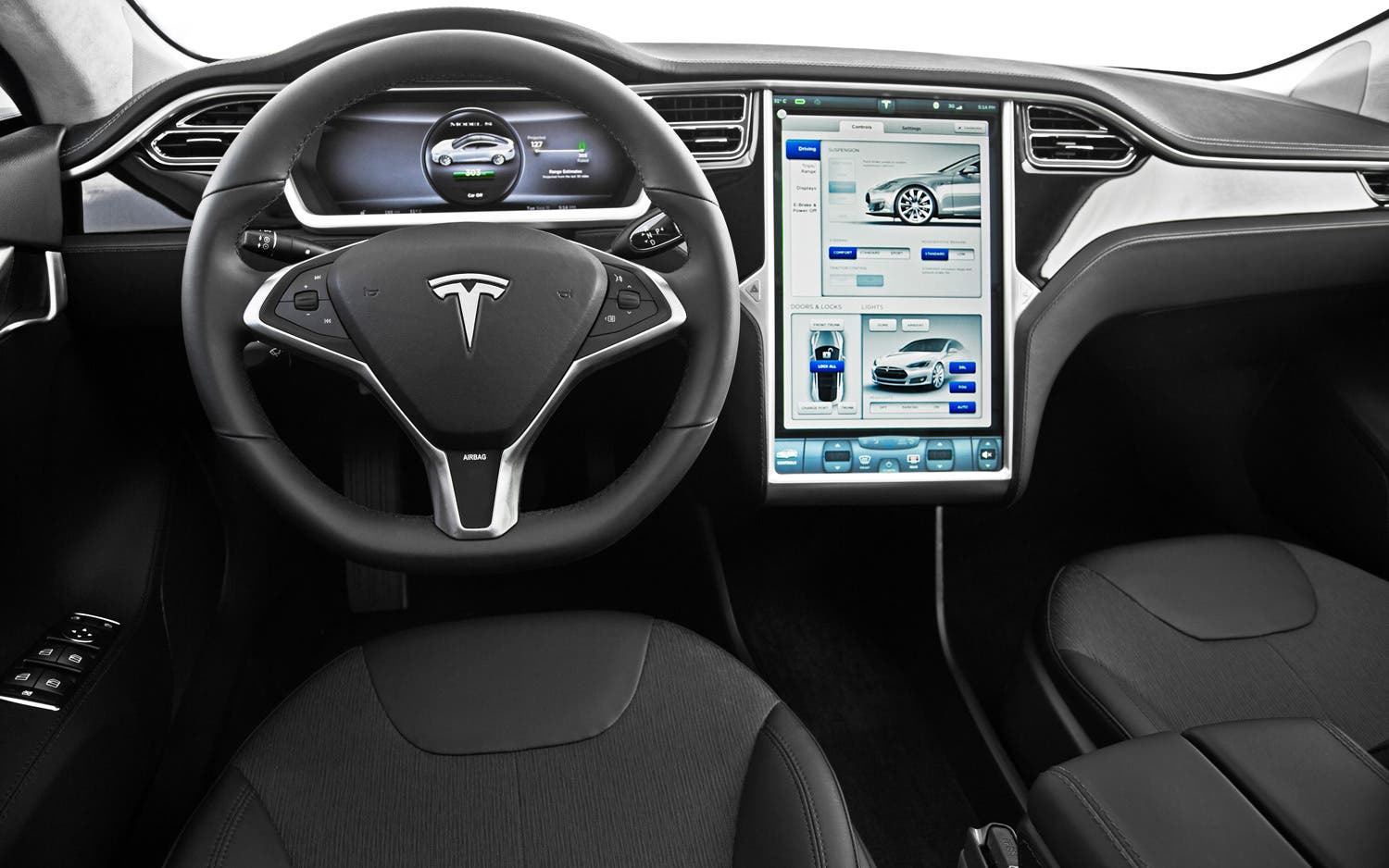 tesla adds first driver assist features to model s. Black Bedroom Furniture Sets. Home Design Ideas