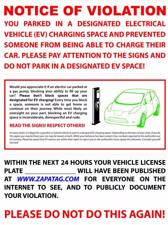 ICEd EV parking flyer