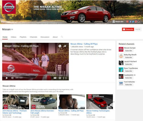 Nissan YouTube channel