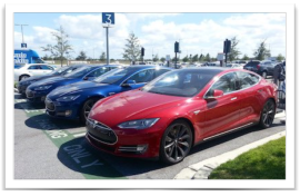 Tesla Model S electric sedans charging 2