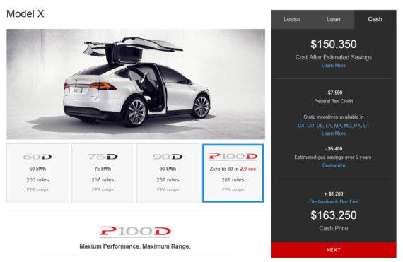 A fully loaded Tesla Model X, equipped with the new 100 kWh battery and Ludicrous Speed now rings up at over $163,000. But you'll get nearly 300 miles between charges, and can do 0-60 in under 3 seconds, which is nice.
