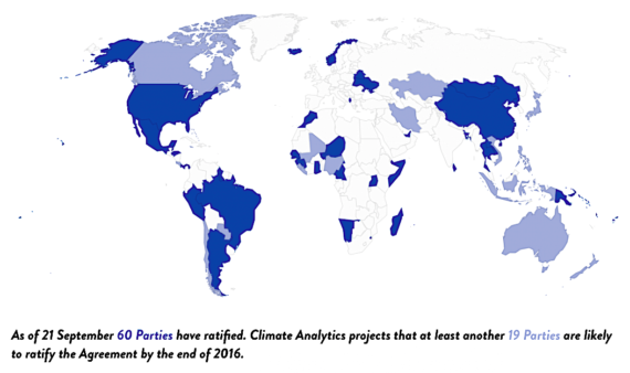 Ratification of the Paris Agreement by nations of the UN (climateanalytics.org)