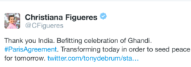 Congratulations to India, a retweet from former UNFCCC leader Christiana Figueres (twitter)