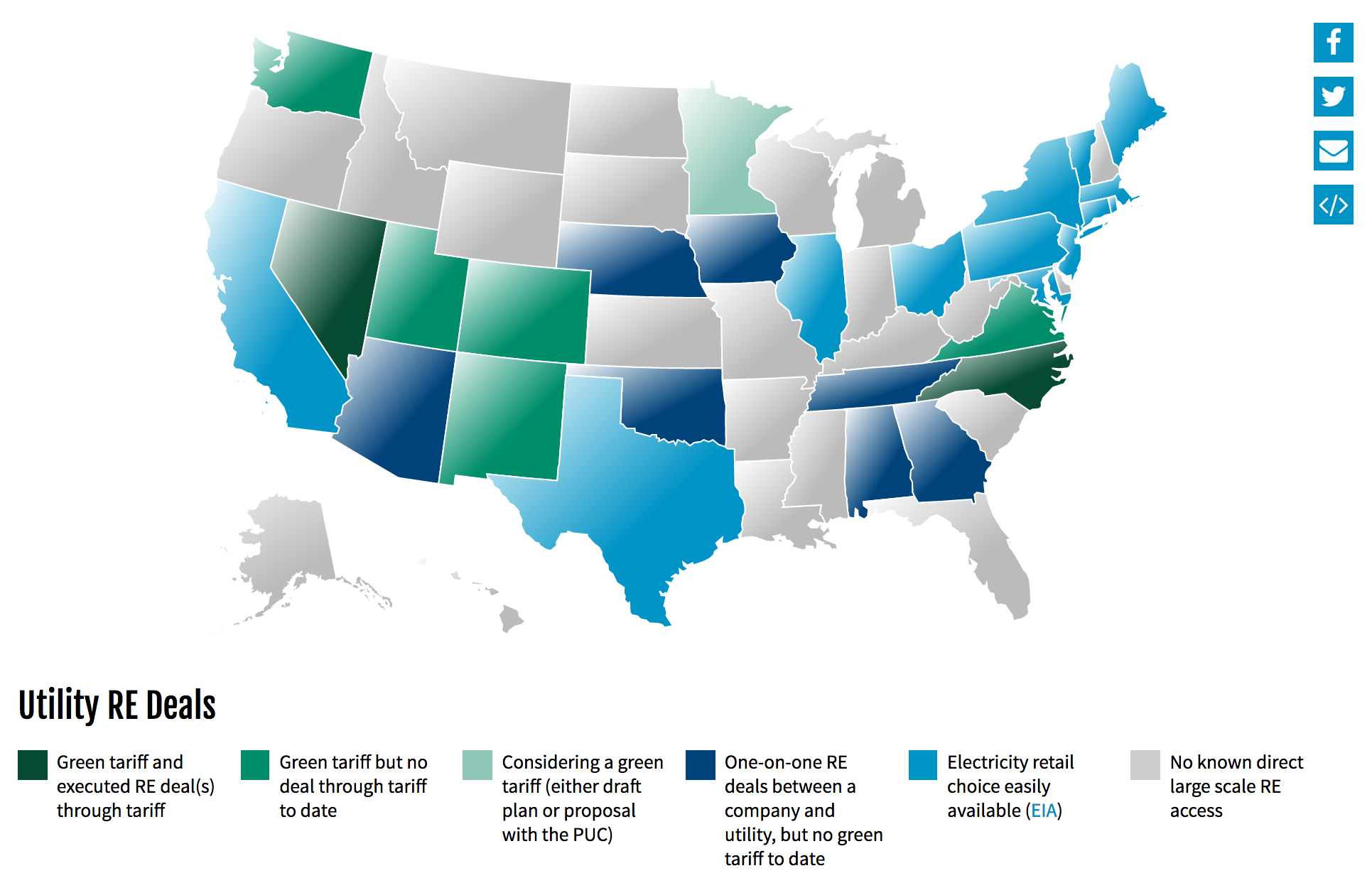 US States Where Large Energy Buyers Can Buy Renewable Energy From - Renewable energy map us