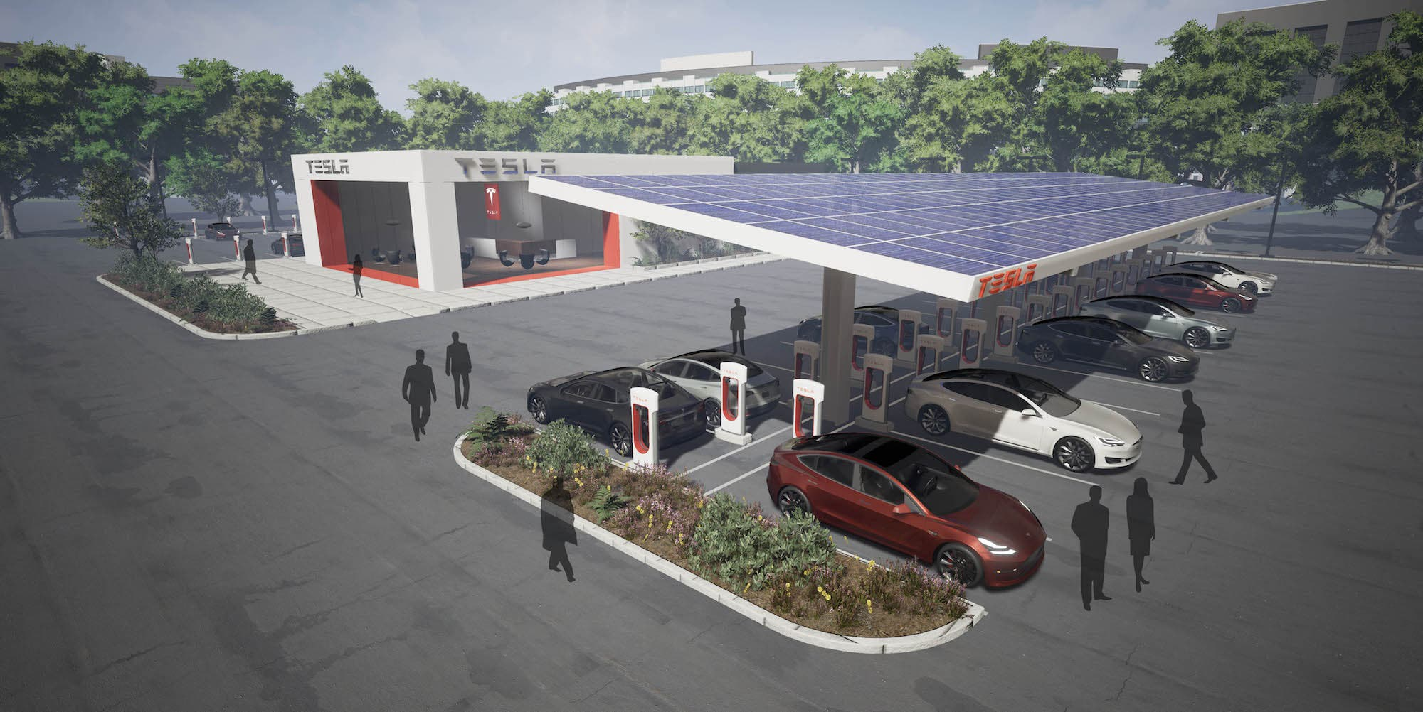 Elon Musk Says All Tesla Supercharger Locations Will Use Solar - Elon musk map of us covered with solar