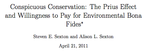Conspicuous Conservation: The Prius Effect and Willingness to Pay for Environmental Bona Fides