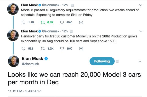 Elon Tweets Model 3 Production Ramp up