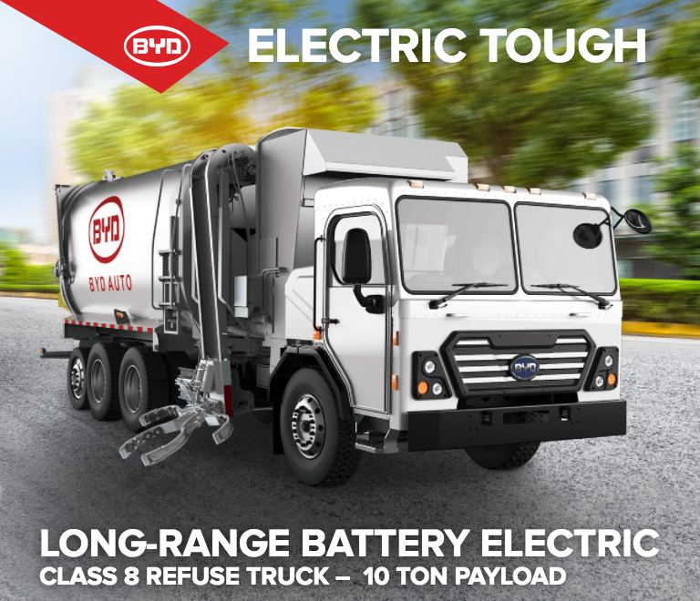 The New Byd Electric Garbage Truck Utilizes Its Battery Pack To Provide Propulsion Move It Forward And Backward As Well For Operation Of