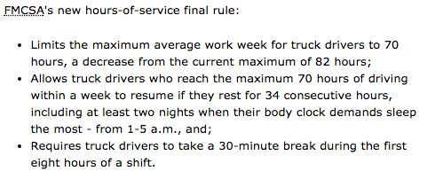 US truck driver laws 8 hours 30 minute break