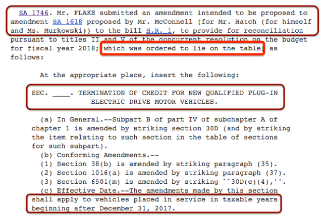 Senate Bill Amendment Sa 174 6ev Tax Credit Lie On The Table