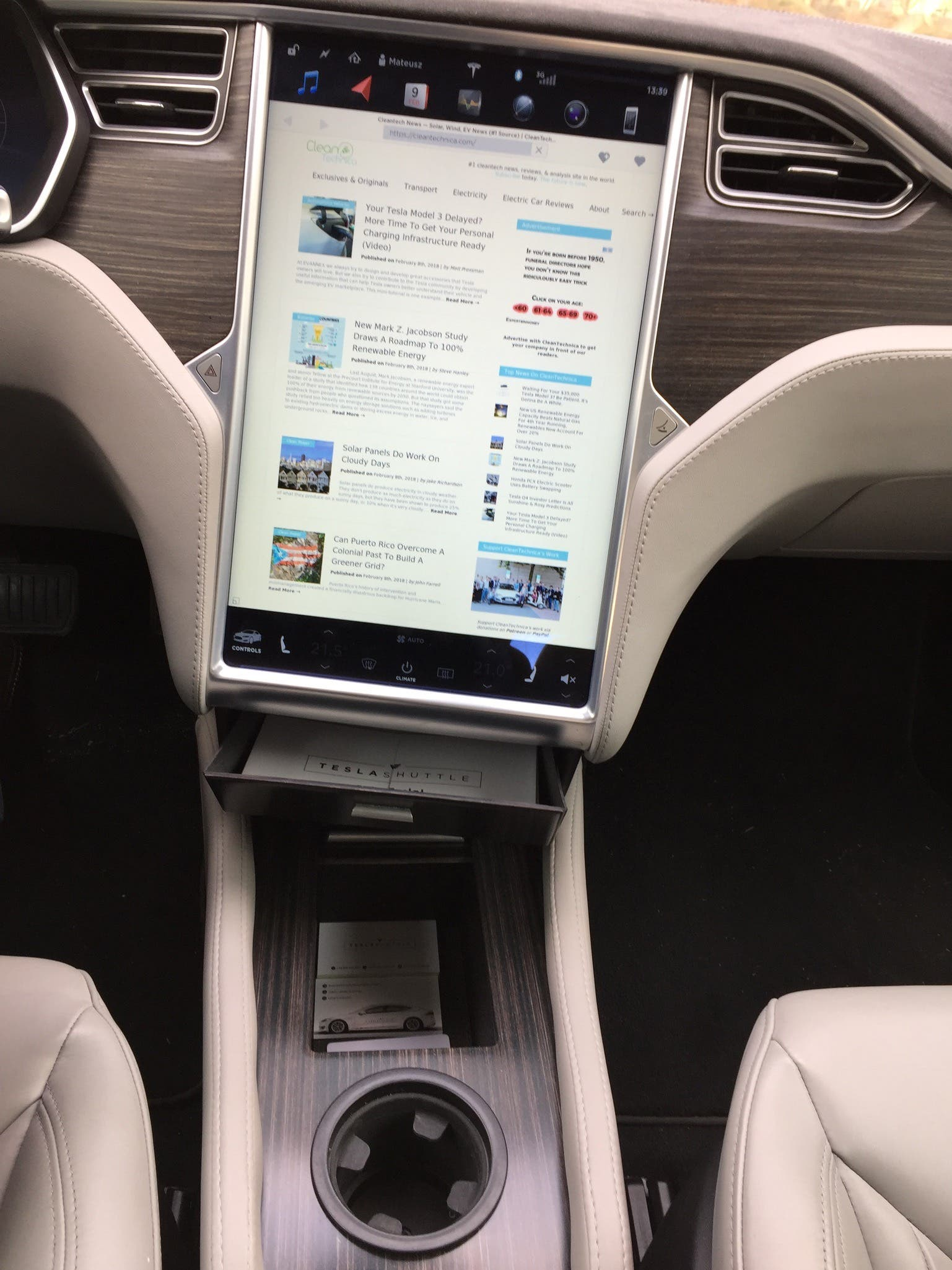 Tesla Model S Center Console From Evannex Cleantechnica