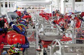 Robots building Teslas