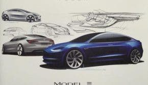 Initial design sketches for the Tesla Model 3 (Image: EVANNEX)