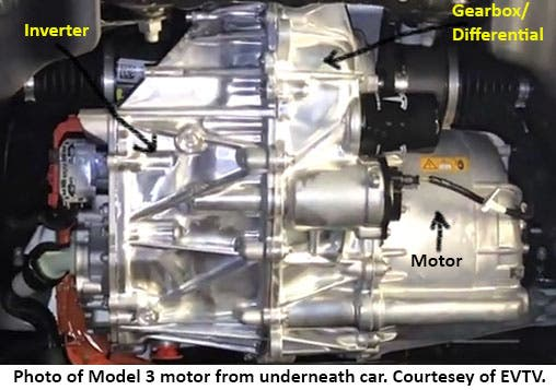 Photo Of Tesla Model 3 Motor From Underneath Car Courtesy Evtv