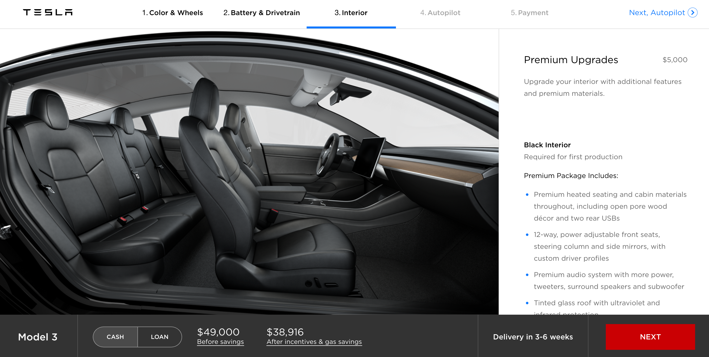 Back to the Tesla Model 3, the big question if you'd prefer one of these options over the all-black interior is how long until you have more choice (if you ...