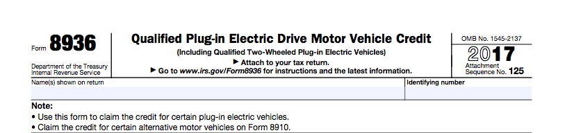 Irs Federal Ev Tax Credit Form 8936