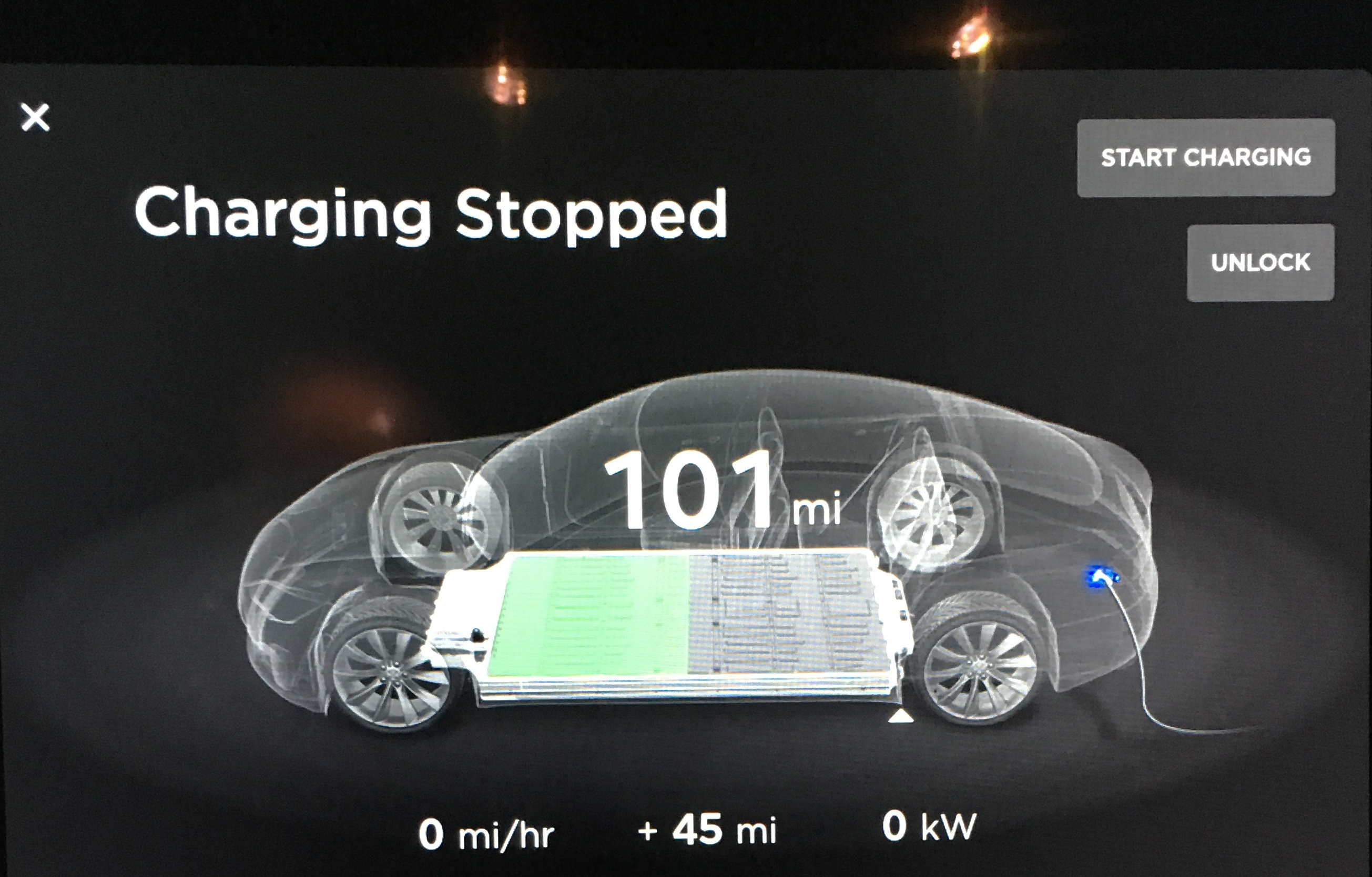 Charging Stopped 101 miles screen - Riverside Tesla Supercharger