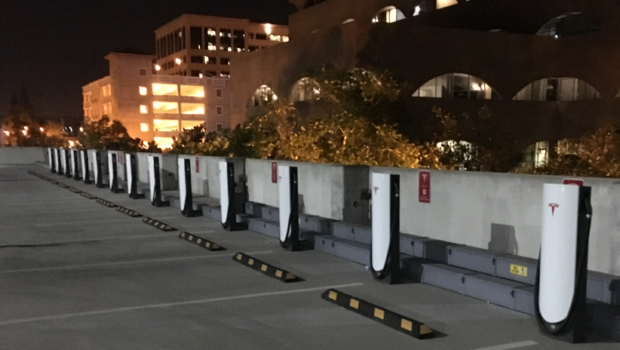 Riverside Tesla Supercharger - rooftop parking empty urban superchargers-cropped