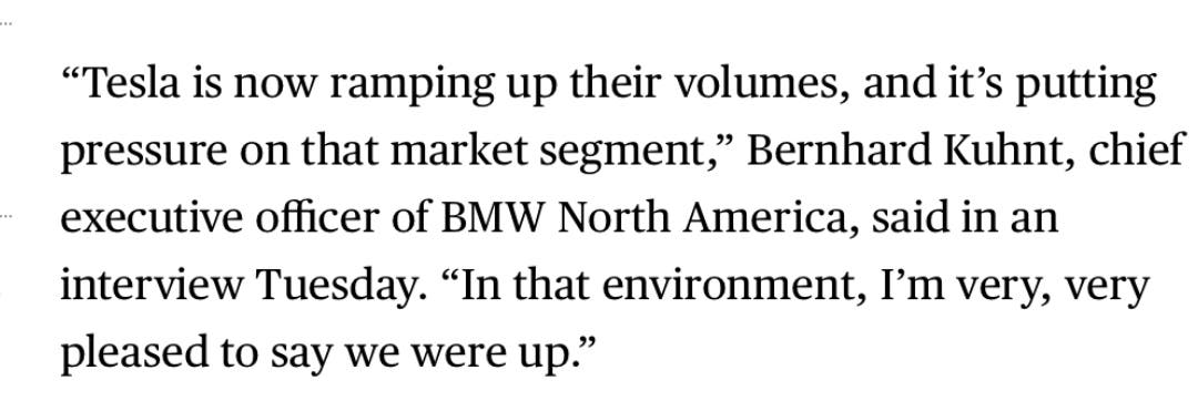BMW executive quote on Tesla competition