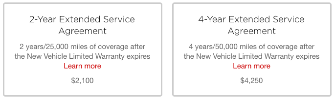 Tesla extended service contracts