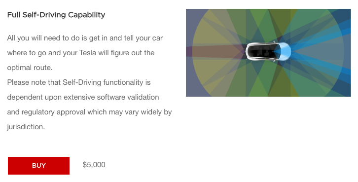 Tesla upgrade to full self-driving capability