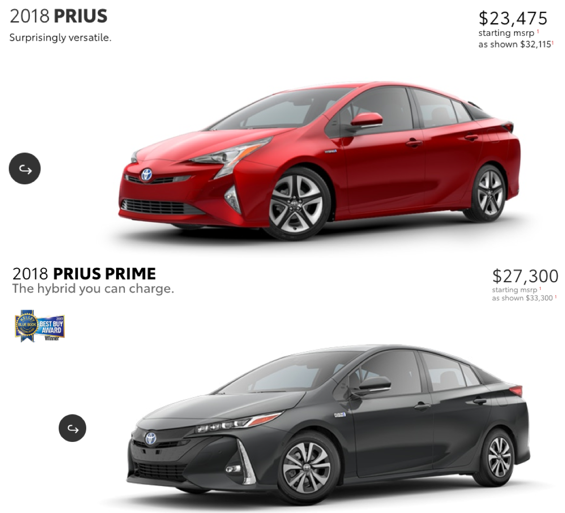 Prius & Prius Prime with pricing