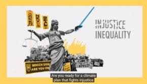 Green New Deal vs injustice Screencap from Leap video