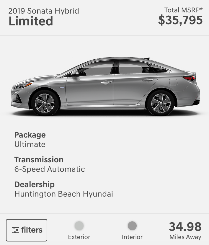 Here Is One Of The Failings Dealership Model If I Wanted This Sonata Hybrid It Would Be Almost 35 Miles From My Zip Closest Could See Was 17