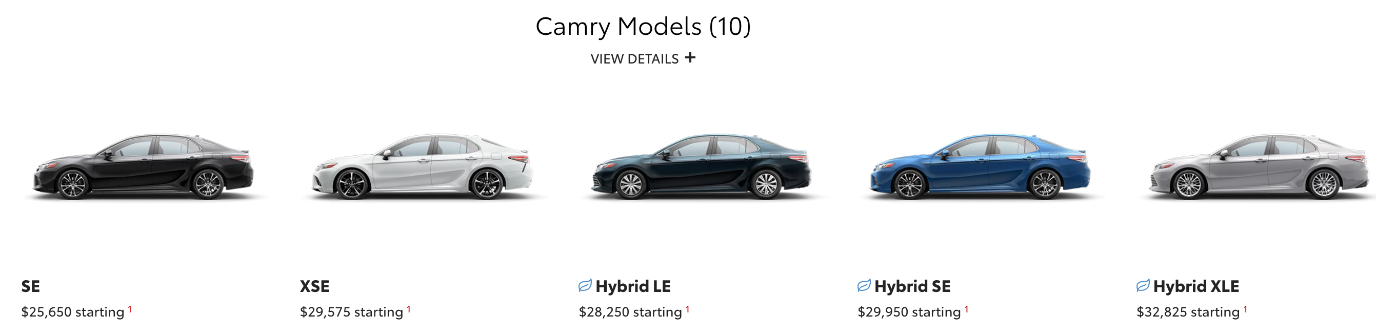 Toyota Camry options