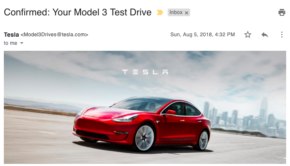 Tesla Model 3 Test Drive confirmation email - featured image - Loren McDonald