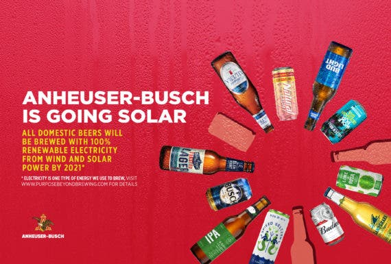 Anheuser-Busch Signs 310 Megawatt PPA With Recurrent Energy To Secure 100% Goal By 2021