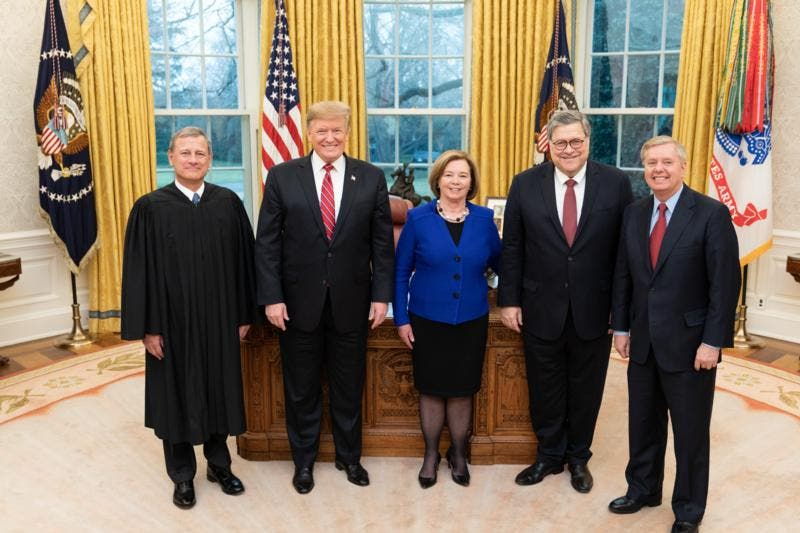 Lindsey Graham with Donald Trump in Oval Office