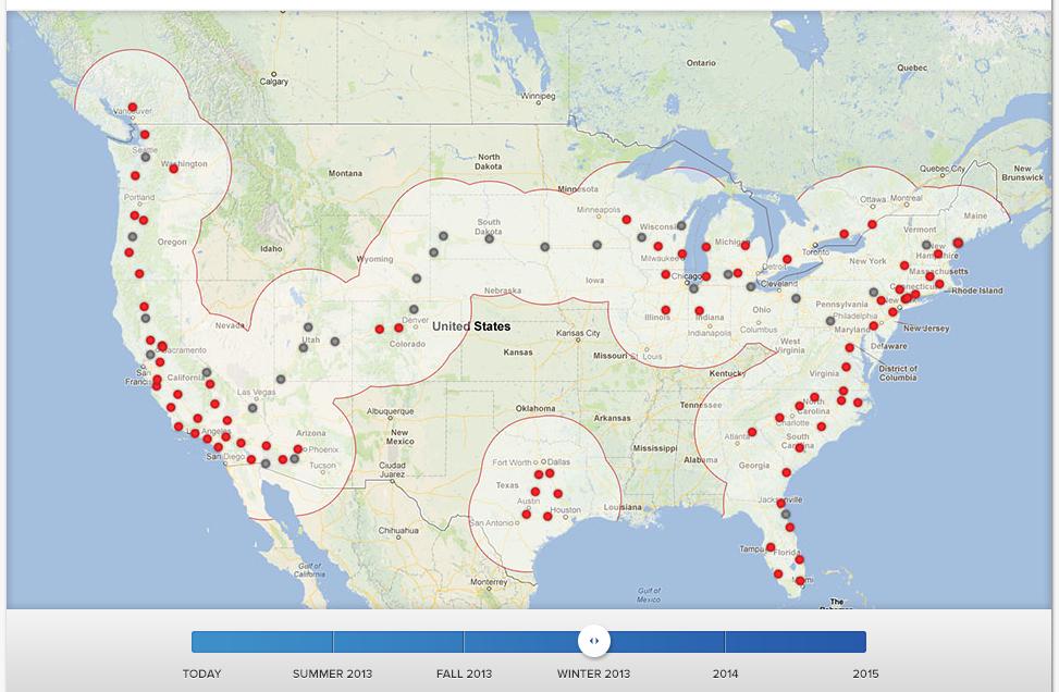 Tesla Supercharger network 2013