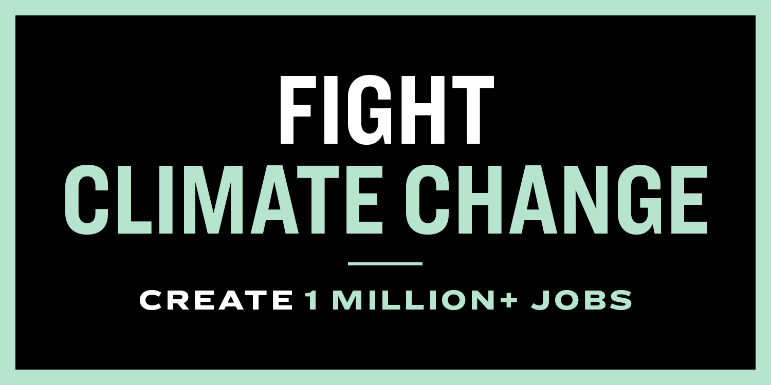 "Graphic from Warren's campaign: ""Fight climate change, create 1 million+ jobs"""
