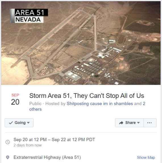 People have actually gone to the 'Storm Area 51' raid in Nevada