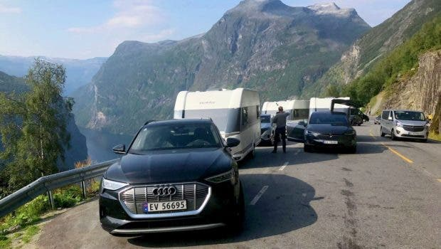 Electric car camping Norway