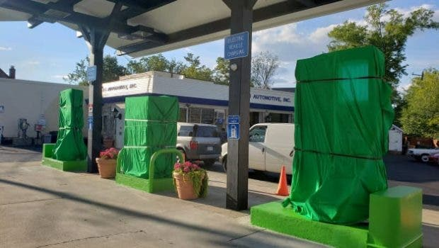 gas station converts to EV chargers
